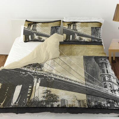 Metropolitan Collage 2 Duvet Cover Size: Queen