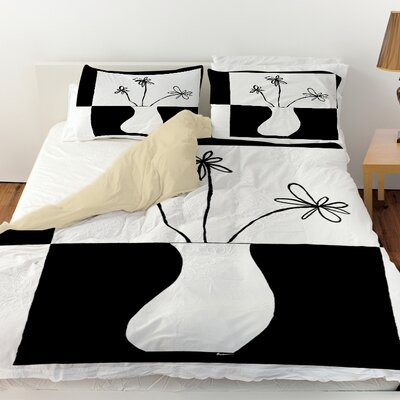 Minimalist Flower in Vase 4 Duvet Cover Size: King