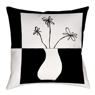 Minimalist Flower in Vase Indoor/Outdoor Throw Pillow Size: 20