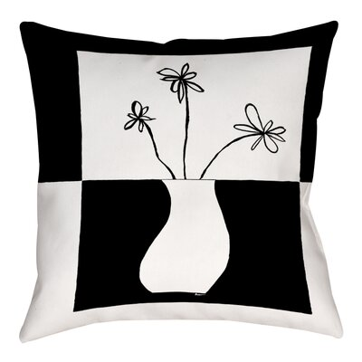 Minimalist Flower in Vase 4 Printed Throw Pillow Size: 26