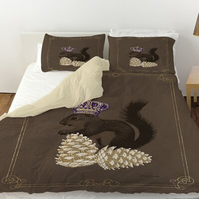 Luxury Lodge Squirrel Duvet Cover Size: Queen