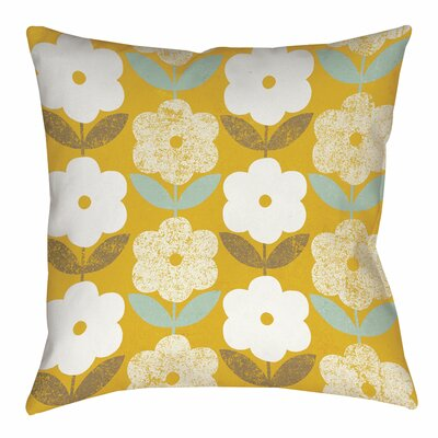 Jar of Sunshine Vintage Blossoms Printed Throw Pillow Size: 16 H x 16 W x 4 D