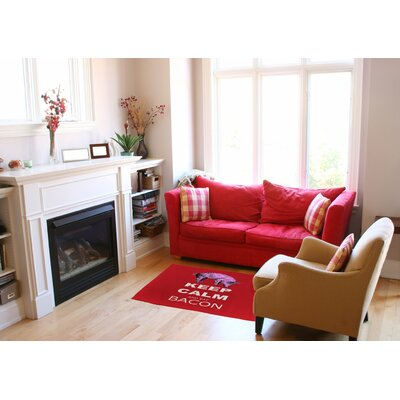 Keep Calm and Eat Bacon Red Area Rug Rug size: Rectangle 2 x 3