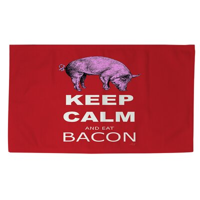 Keep Calm and Eat Bacon Red Area Rug Rug size: 2 x 3