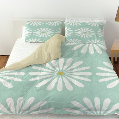 Jar of Sunshine Vintage Daisy Duvet Cover Size: Queen