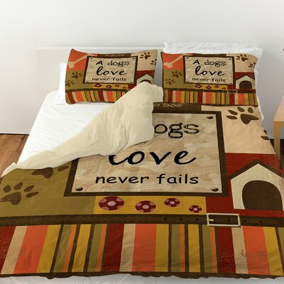 Love Never Fails Duvet Cover Size: Queen