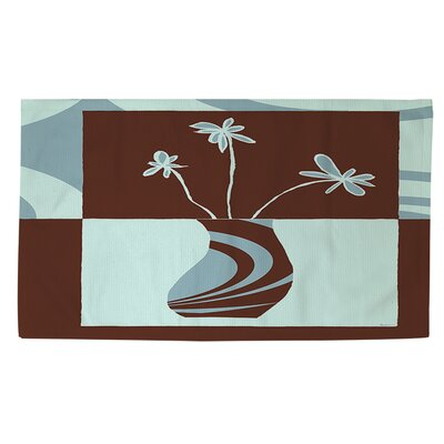 Minimalist Flowers 4 Brown/Blue Area Rug Rug size: 2 x 3