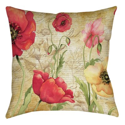 Large Poppy Heads Printed Throw Pillow Size: 18 H x 18 W x 5 D