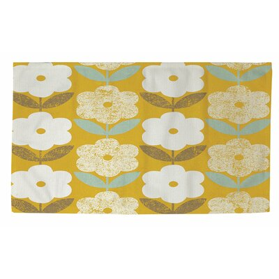 Jar of Sunshine Vintage Blossoms Yellow/White Area Rug Rug size: 2 x 3