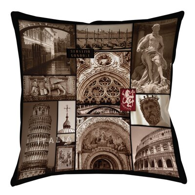 Italy Printed Throw Pillow Size: 16 H x 16 W x 4 D