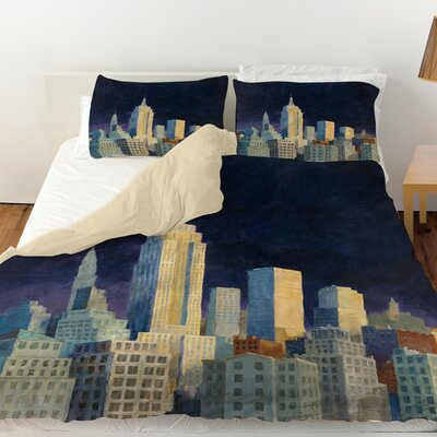 Midnight in Midtown Duvet Cover Size: Queen