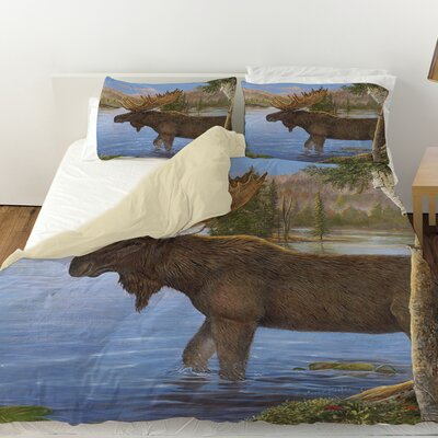 Majestic Moose Duvet Cover Size: Queen