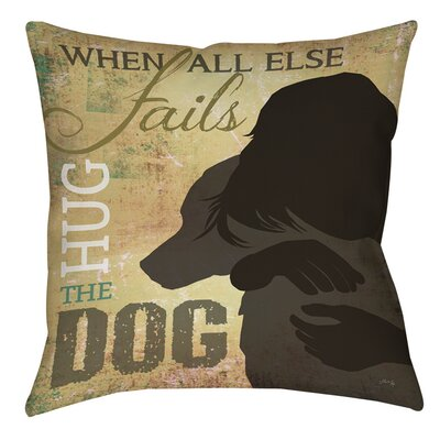 Hug the Dog Printed Throw Pillow Size: 16