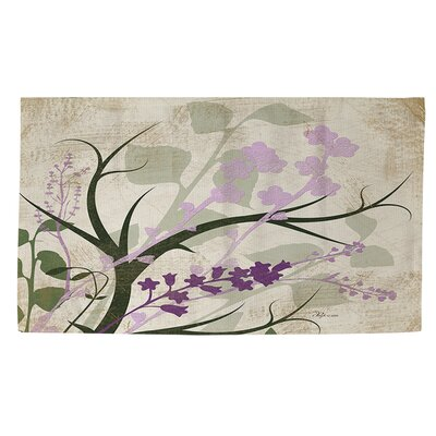 Lavender and Sage Flourish Cream Area Rug Rug size: 4 x 6