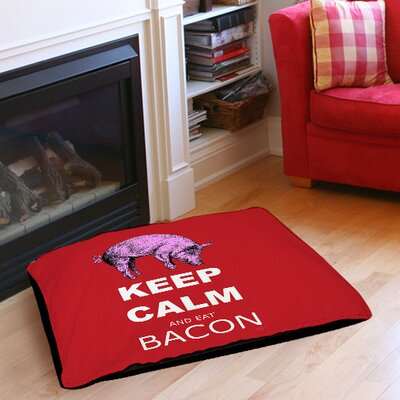 Keep Calm and Eat Bacon Indoor/Outdoor Pet Bed Size: 28 L x 18 W