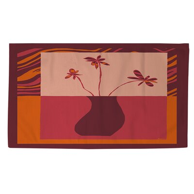 Minimalist Flowers 3 Orange/Pink Area Rug Rug size: 4 x 6