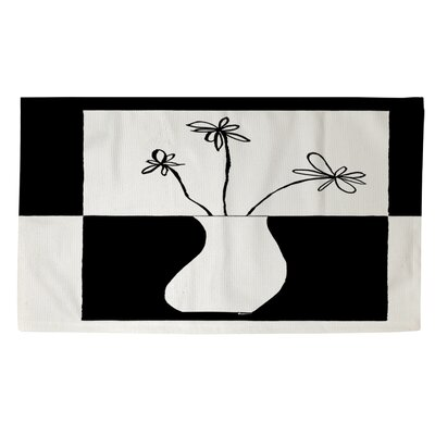 Minimalist Flower in Vase 4 White/Black Area Rug Rug size: 4 x 6
