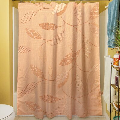 Leaves Narrow Shower Curtain Color: Salmon