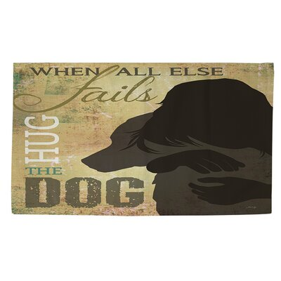 Hug the Dog Brown Area Rug Rug size: 4 x 6