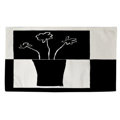 Minimalist Flower in Vase 2 Black/White Area Rug Rug size: 2 x 3