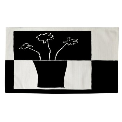 Minimalist Flower in Vase 2 Black/White Area Rug Rug size: 4 x 6