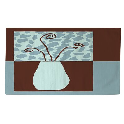 Minimalist Flowers 3 Blue/Brown Area Rug Rug size: 2 x 3