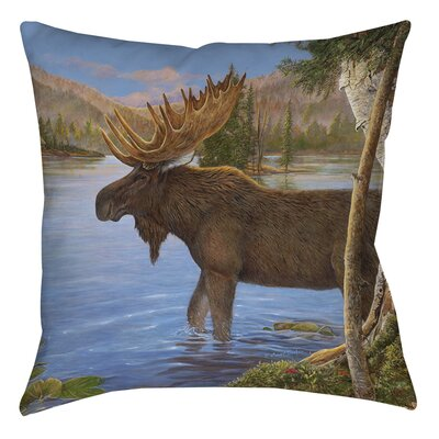 Majestic Moose Printed Throw Pillow Size: 14 H x 14 W x 3 D