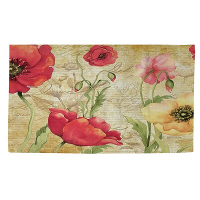 Large Poppy Heads Beige Area Rug Rug size: 2 x 3