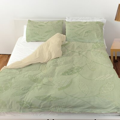 Leaves Narrow Duvet Cover Color: Mint, Size: Twin