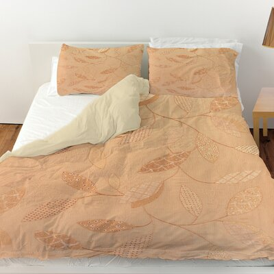 Leaves Narrow Duvet Cover Size: Queen, Color: Salmon
