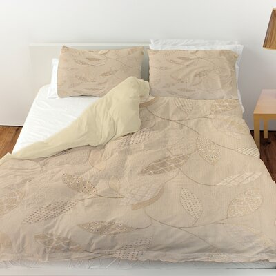 Leaves Narrow Duvet Cover Size: Queen, Color: Taupe