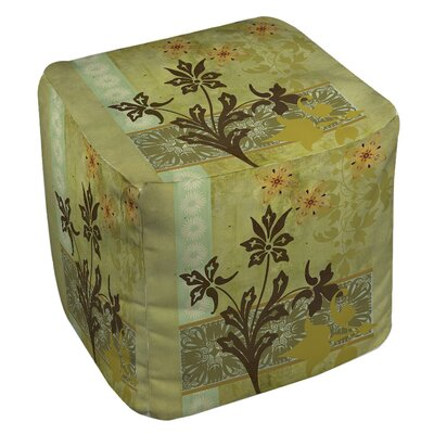 Patterned Collage Blossoms Ottoman