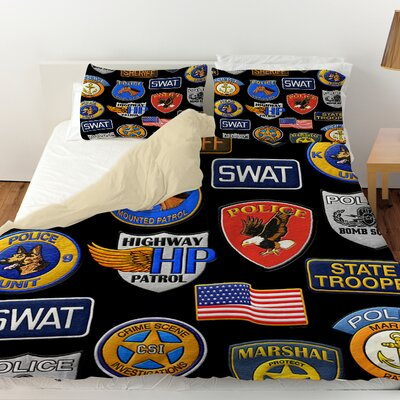 Police Patches Duvet Cover Size: King