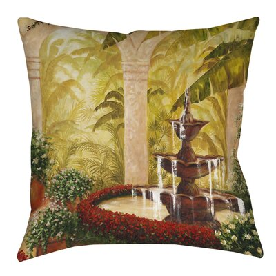 Palm Garden II Printed Throw Pillow Size: 16