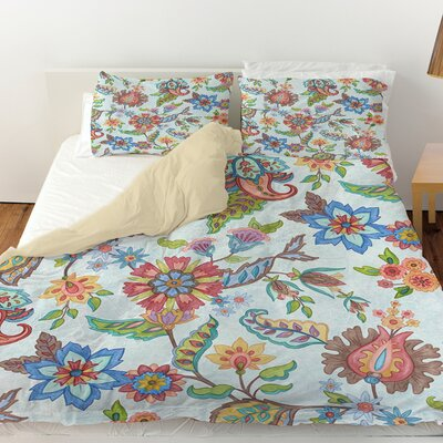 Shangri La Floral Duvet Cover Color: Natural, Size: Queen