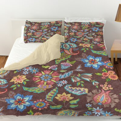 Shangri La Floral Duvet Cover Size: Queen, Color: Brown