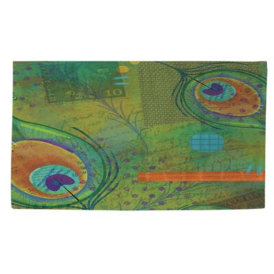 Peacock Pattern 2 Green Area Rug Rug Size: 4 x 6