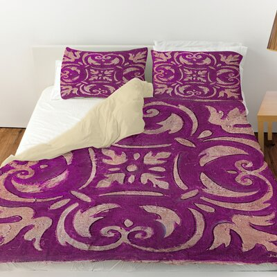 Mosaic Duvet Cover Color: Purple, Size: Queen