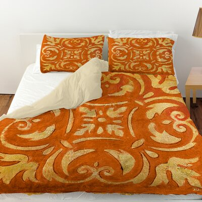 Mosaic Duvet Cover Color: Orange, Size: Queen