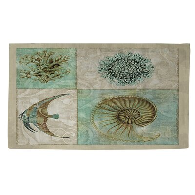 Sea Life 2 Blue/Grey Area Rug Rug Size: 4 x 6