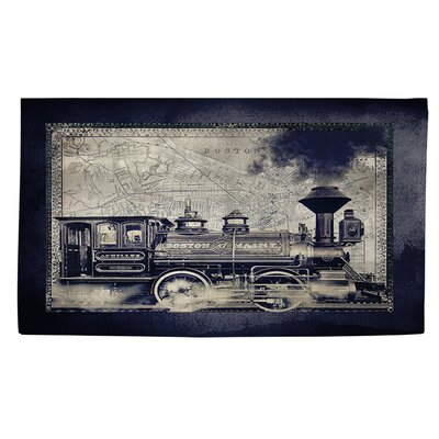 Railway Beantown Blue/Grey Area Rug Rug Size: 2 x 3