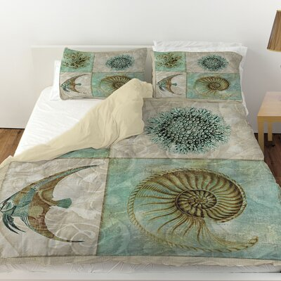 Sea Life 2 Duvet Cover Size: Queen