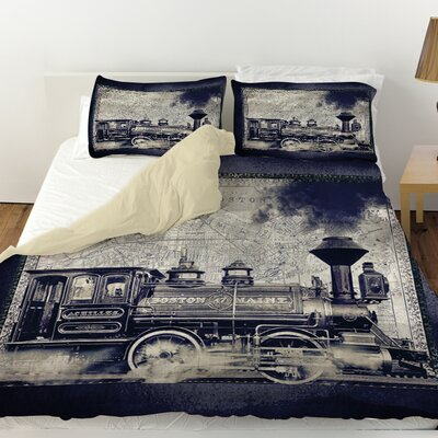 Railway Beantown Duvet Cover Size: Queen