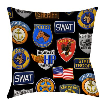 Police Patches Indoor/Outdoor Throw Pillow Size: 16 H x 16 W x 4 D