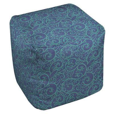 Funky Florals Swirl Pattern Ottoman Upholstery: Blue
