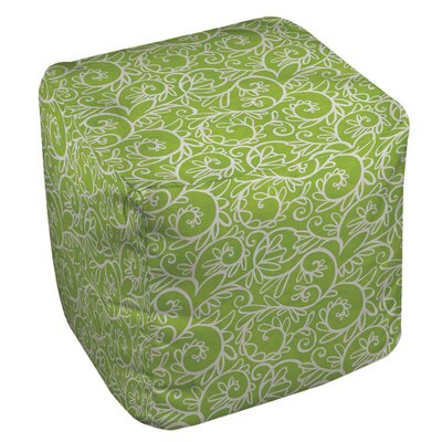 Funky Florals Swirl Pattern Ottoman Upholstery: Green