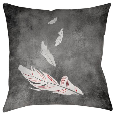 Feather Float Printed Throwv Pillow Size: 14 H x 14 W x 3 D, Color: White