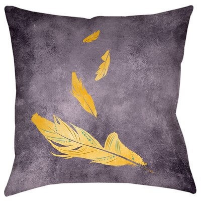 Feather Float Printed Throwv Pillow Size: 26 H x 26 W x 7 D, Color: Gold