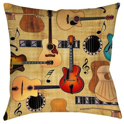 Guitar Collage Cream Indoor/Outdoor Throw Pillow Size: 16 H x 16 W x 4 D