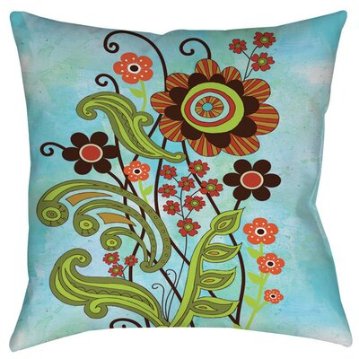 Flower Power Stems Indoor/Outdoor Throw Pillow Size: 16 H x 16 W x 4 D